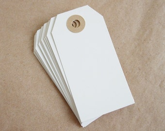 12 White Gift Tags with Kraft Reinforced Holes