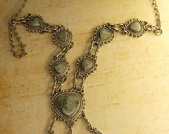 Vintage Gothic Cross necklace hand wrought silver and semi precious stone Goth cross pendant