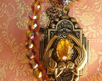Fiery Deco deco  mermaid locket necklace sun and fire Glass beads Skeleton key
