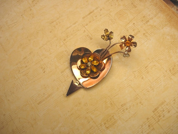Vintage Signed Coro Sweetheart Brooch sterling and rhinestones