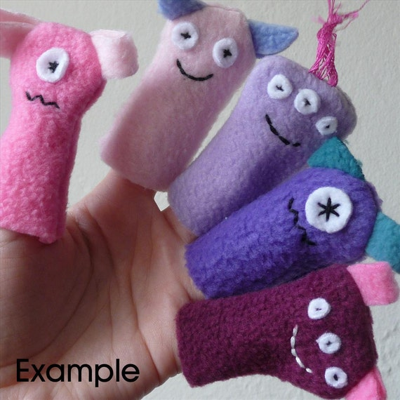 Monster Finger Puppets, Pink & Purple (5 pack)
