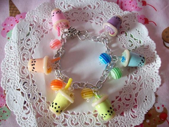 Rainbow Bubble Tea Charm Bracelet - Made to Order