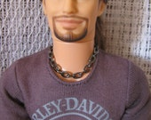 Gunmetal Chain Necklace Guy Doll Jewelry fits  1/6th Scale Male Fashion Dolls & Petite Slimline