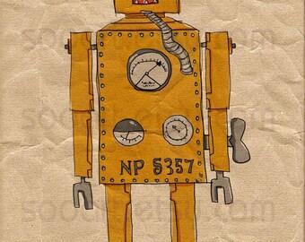 Lilliput Robot vintage-Digital Image Sheet -SooArt Original Illustrate Drawing  A4 Print on Pillows, t-shirts, scrapbook, lampshades  ETC.v