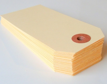 25 Raw Manilla Medium (size 3) Parcel Shipping Tags . 3.75 x 1.875
