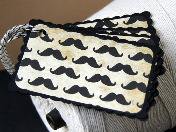 Spiffy Mustache Gift Tags or Package Labels (Qty. 6)