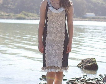 Eco chic upcycled black vintage doily slip dress with birds featured in Altered Couture medium