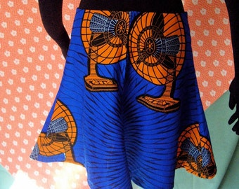 Sale! The Ginger -Flirty Fall Skirt- Beautiful and Bright Pagne Wax block  Orange Fans with Blue Background Vlisco of Holland Fabric-  Large