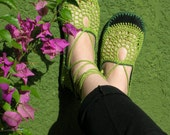 Lace up crochet SHOES - Mary Jane -Apple Green  - CUSTOM MADE - Hippie boho footwear
