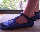 Mary Jane crochet SHOES - Blueberry Blue - CUSTOM MADE - Unique hippie shoes