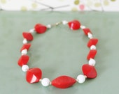 Vintage Necklace, Beads, Red and White