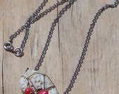 Wire Wrapped Coral and Stone Necklace