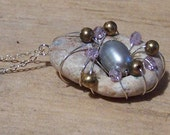 Wire and Crystal Wrapped Beach Stone Pendant
