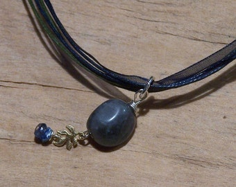 Tiny Treasures - labradorite, kyanite and a tiny gold leaf