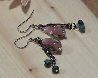 Glass Roses and Faceted Emerald Earrings