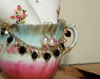 Pink Pearls Bracelet and Earring Set