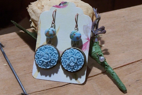 April Showers Bring May Flowers - Handstamped Copper Earrings