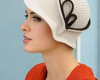 Vintage Spring In Brown- white felt hat