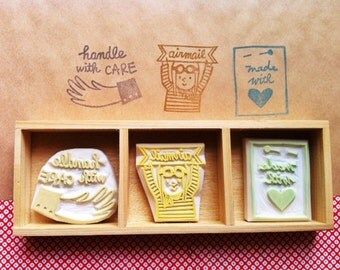 airmail rubber stamps. packaging stamps. hand carved rubber stamps. handle with care/airmail/made with love. snail mails. set of 3. mounted