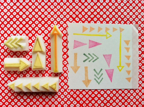 arrow rubber stamps. geometric hand carved rubber stamp. set of 5. birthday scrapbooking. gift tag, sticker making. created by talktothesun