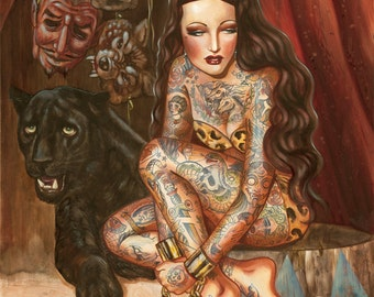 Fortune in Chains-tattooed vintage circus sideshow pin up- limited edition canvas giclee-