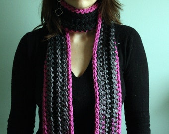 Winter Scarf Striped Scarf  Womens Scarf Crochet Scarf in Pink, Gray, and Black READY to SHIP