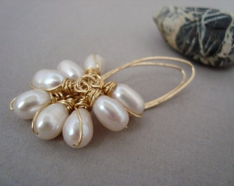 NICOLE - Pearl Earrings Gold Clusters Long Wire wrapped, Wedding, Bridal earrings, gift for her, genuine jewelry