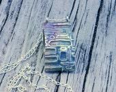Mod Texture Hollow Design Fine Silver Pendant with Rainbow Patina