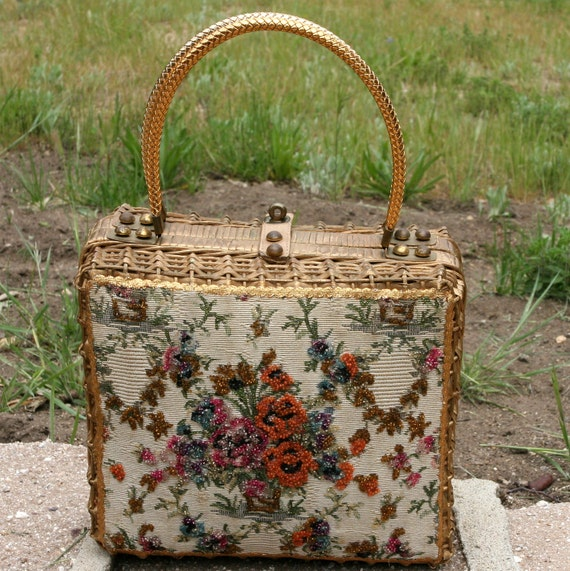 Vintage Midas of Miami Beaded Embroidered Tapestry Gold Wicker Purse