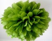 MOSS / 1 tissue paper pompom / wedding decorations / diy / gender reveal decorations / green decorations / hanging poms / birthday party pom