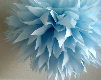 BABY BLUE / 1 tissue paper pom pom / diy / wedding decorations / blue decorations / bar mitzvah decor / grad party decorations / christening