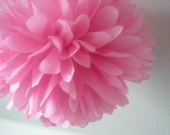 BUBBLEGUM PINK / 1 tissue paper pom pom / diy / wedding decorations / birthday party poms / nursery decorations / pink decorations / pompoms