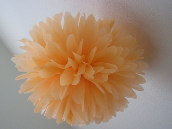 PEACH / 1 tissue paper pom pom / wedding decorations / diy / engagement party / peach decorations / aisle marker / ceiling decorations