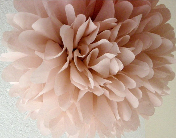 DUSTY PINK / 1 tissue paper pom pom / diy / wedding decorations / baby shower decor / blush pink decorations / dusty rose / nursery poms