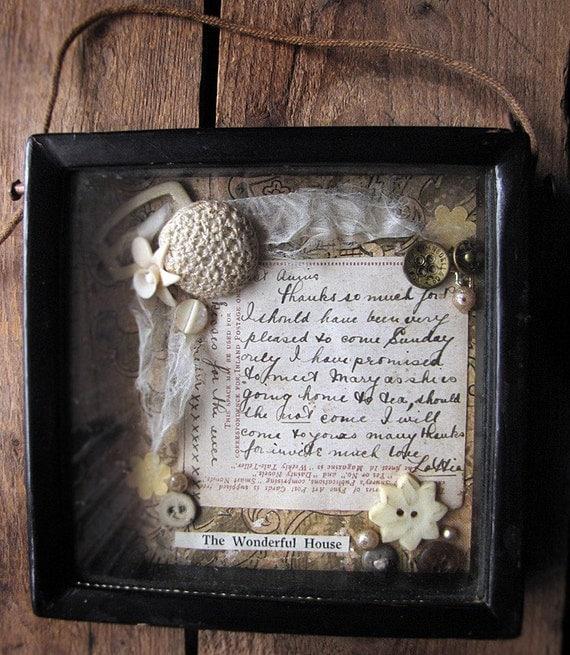 The Wonderful House - shadow box - original assemblage art - antique buttons - romantic shabby