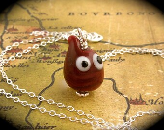 Googly Eyed Blood Drop Necklace - lampwork glass on sterling silver - fun for hematologists and vampires