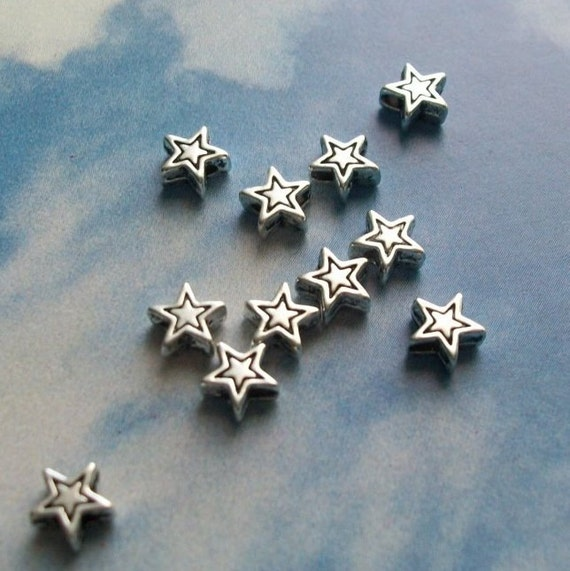 50 tiny star beads, etched outline, silver tone, 6mm