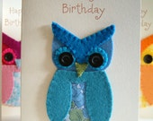 Birthday Card - Too-wit Too-whoo Owl - Wool Felt - Decoration