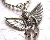 Small Flying Monkey Necklace Wizard of Oz Inspired Small Silver Plated Metal Kitsch Costume Jewelry Handcrafted Crafty Art Jewelry