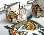 Men's Steampunk Cufflinks Upcycled Watch Movement Cufflinks Vintage Watch Movements Matching Pair From Cosmic Firefly Father's Day Gifts