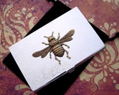 Bee Business Card Case Brass Bee Silver Card Case Gothic Victorian Card Holder Vintage Inspired Mixed Metals Slim Size