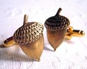 Men's Cufflinks Acorns Antiqued Brass Vintage Inspired Handcrafted Gothic Victorian Steampunk Style Acorn Cufflinks