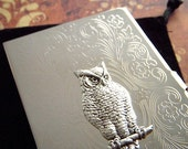 Owl Business Card Case Victorian Owl Silver Plated Slim Fancy Vintage Inspired Scroll Pattern Popular Classic Slim Card Holder