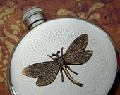 Brass Dragonfly on Silver Flask  Art Nouveau Victorian Steampunk Style Pocket Flask