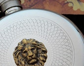 Brass Lion Flask Animal Gothic Victorian Round Flask Silver Plated Vintage Inspired Steampunk Style Pocket Flask