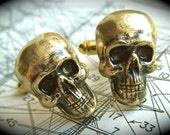 Men's Cufflinks Gold Brass Skulls Rustic Antique Finish Steampunk Pirate Accessories Hardcore Gothic Victorian Vintage Style Skull Cufflinks