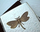 Cigarette Case Dragonfly Mixed Metals Big Double Size Silver Plated Art Nouveau Rustic Brass Insect Gothic Victorian Steampunk Accessories