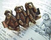 Men's Tie Bar Clip Brass Monkeys Vintage Inspired Gothic Victorian Speak See Hear No Evil Popular Steampunk Style Gifts & Accessories