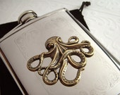 Octopus Flask Nautical Steampunk Style Stainless Steel With Raised Antiqued Brass Octopus Gothic Victorian Design Mixed Metals Holds 6 oz