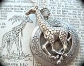 Silver Giraffe Necklace Locket Rustic Silver Plated Gothic Victorian Vintage Inspired Steampunk Style Antiqued Finish Locket Necklace